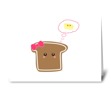 Kawaii Girly Toast greeting card