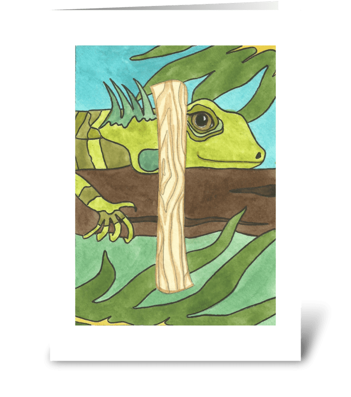 I for Iguana greeting card