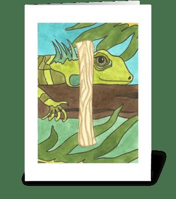 I for Iguana greeting card