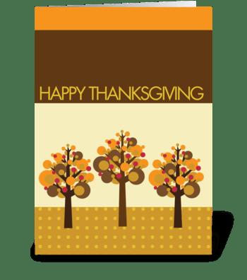 Three fall modern trees greeting card