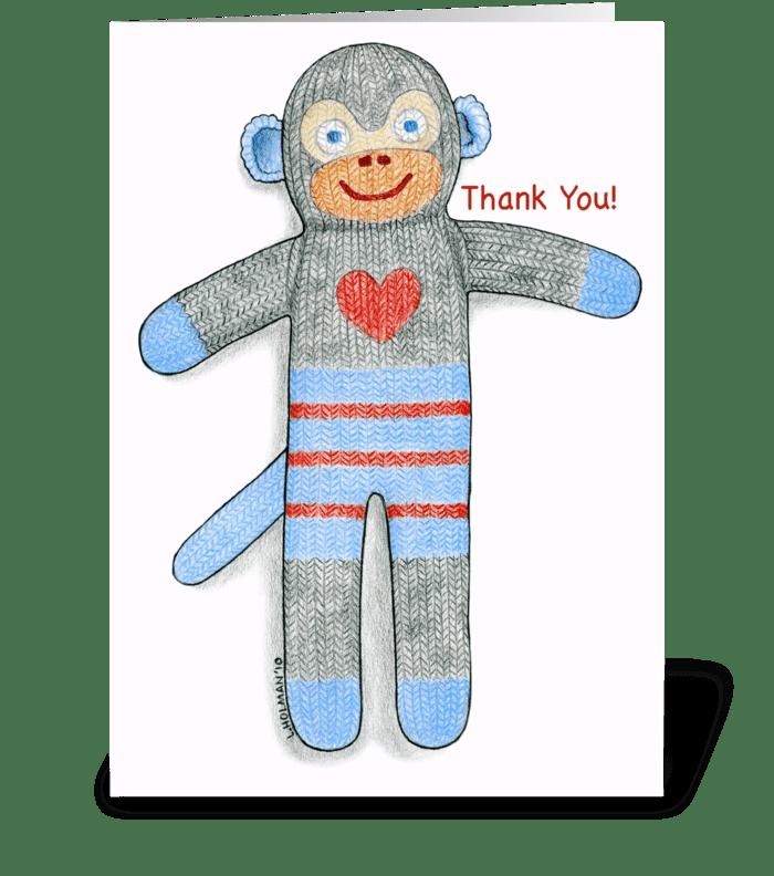 Sock Monkey Thank You! greeting card