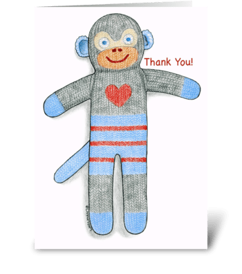 Sock Monkey Thank You! greeting card