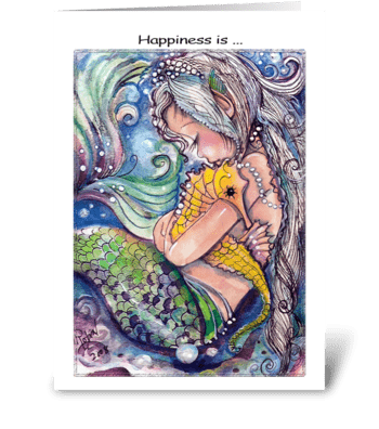 Sleepy Mermaid and Sea Horse greeting card