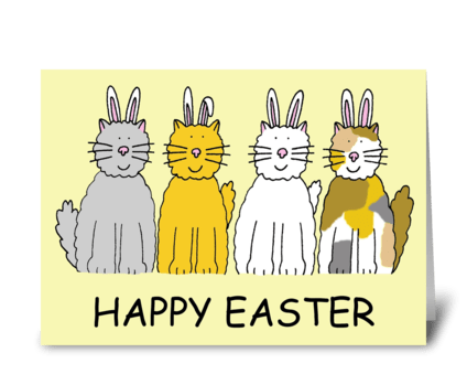 Fun Happy Easter from the Bunny Cats greeting card