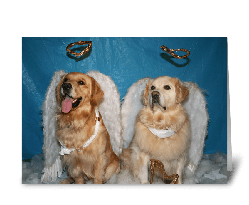 Golden Christmas Angels greeting card