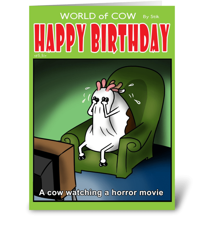 A Cow Watching a Horror Movie BD card greeting card
