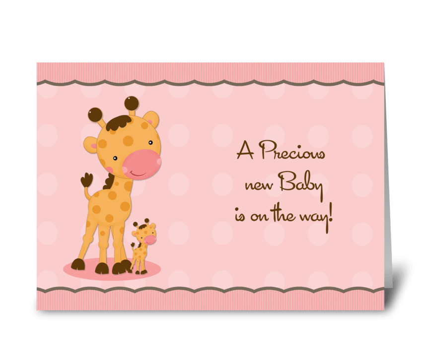 Giraffe pink dots baby shower invitation send this greeting card giraffe pink dots baby shower invitation greeting card m4hsunfo