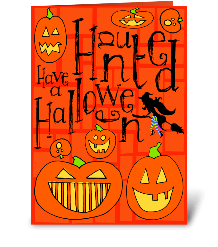 Haunted Halloween greeting card