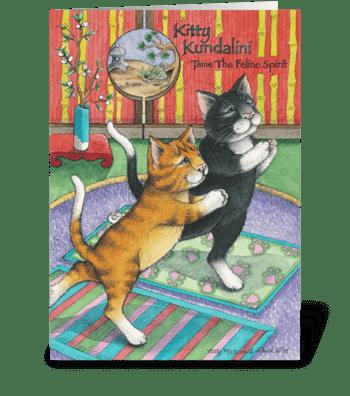Yoga Cats Enlightened Birthday #29 greeting card
