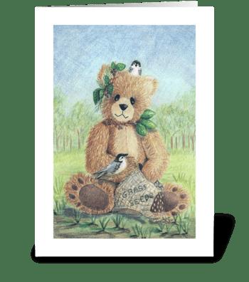 Spring Teddy Bear greeting card