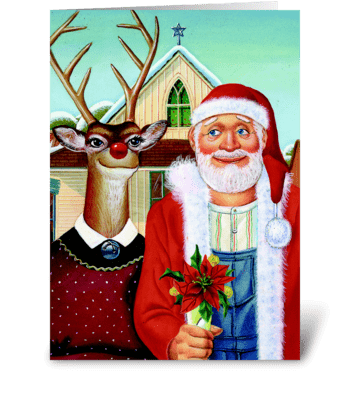 Merry Christmas, Deer greeting card
