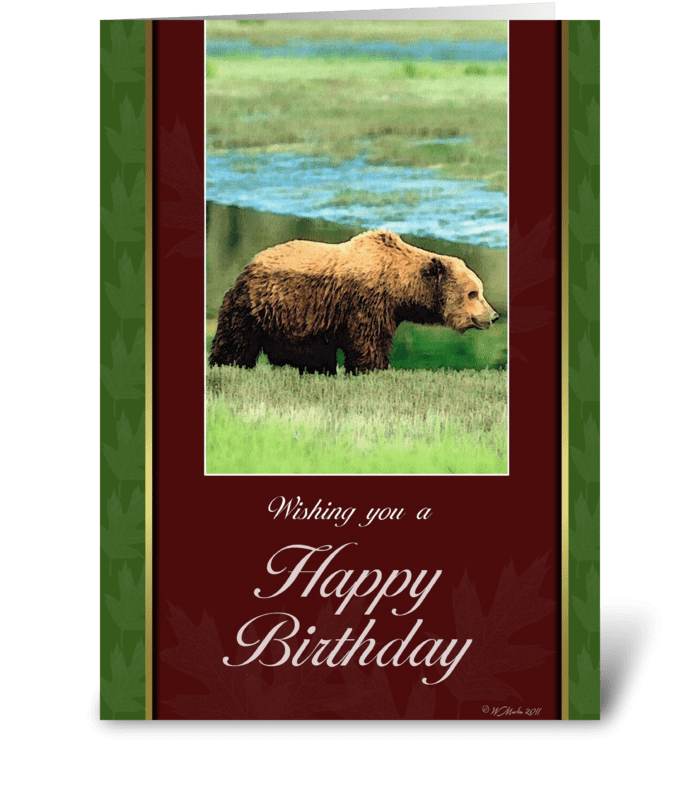 Grizzly Bear Birthday Card greeting card
