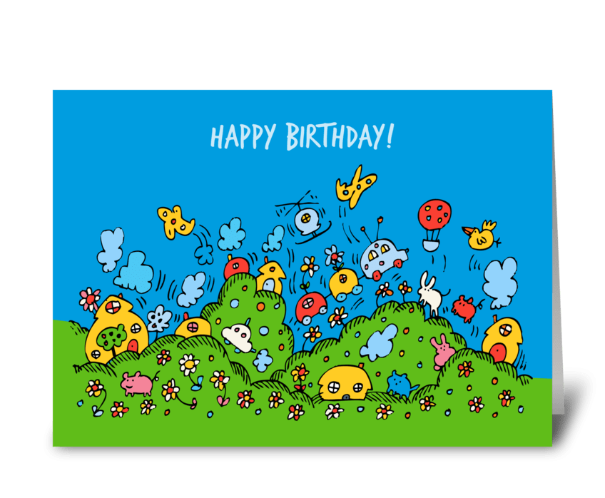 Happy Fun Town Birthday Card greeting card