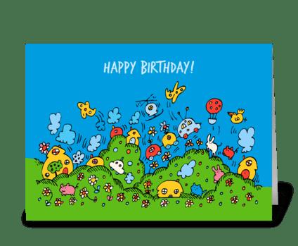 Happy Fun Town Birthday Card greeting card