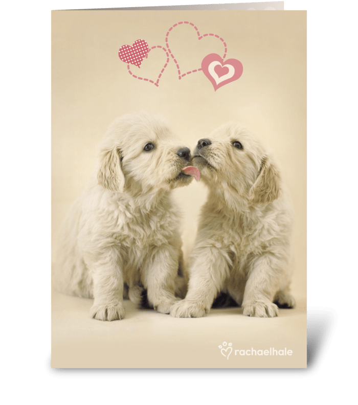 Puppies and Hearts greeting card