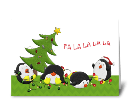 Holiday Penguin Fun greeting card