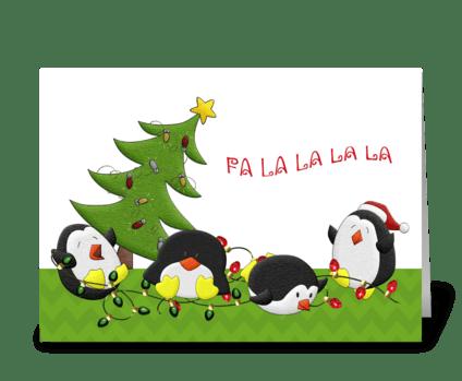 Holiday Penguin Fun greeting card