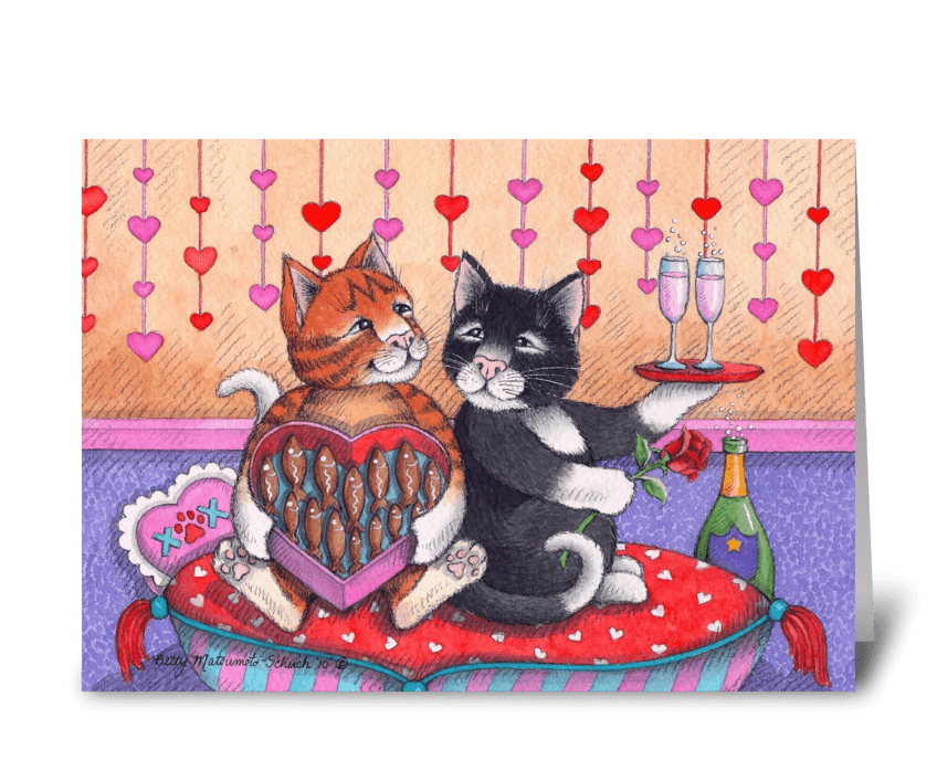 Valentine Cats W/Champagne #74 greeting card