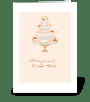 Peach Wedding Cake Shower Invitation greeting card