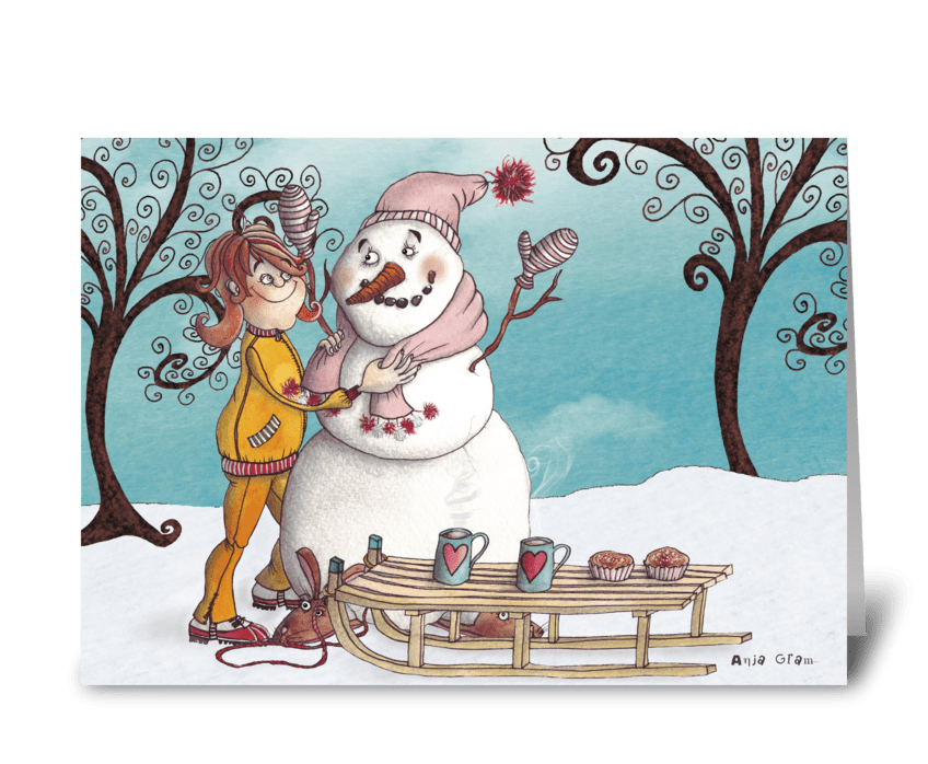 The Girl and the snowman greeting card