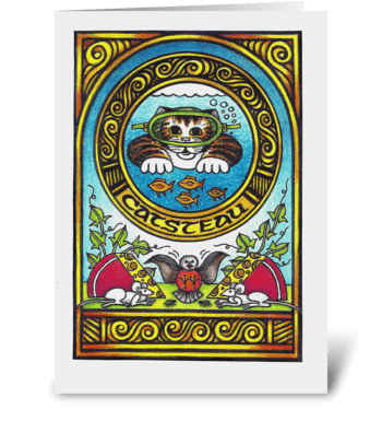 Catsteau greeting card