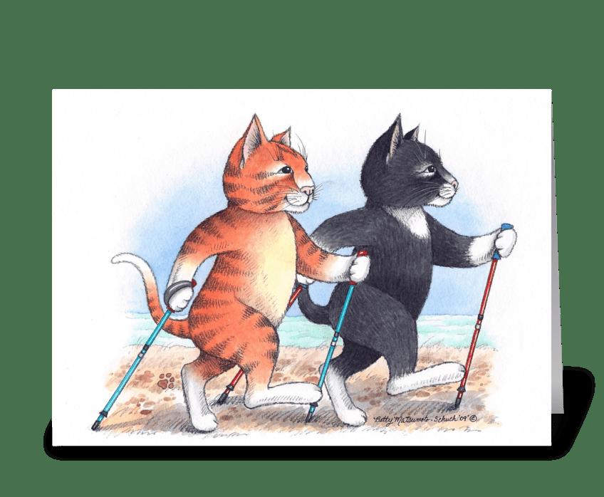 Nordic Walking Cats #66 greeting card