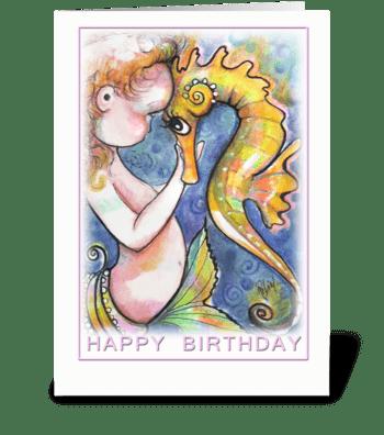 Mermaid Baby and Seahorse, Birthday greeting card