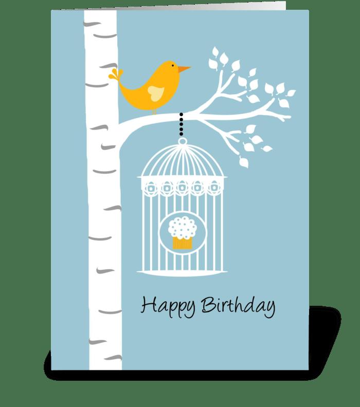 Birthday Birdie with Cupcake greeting card