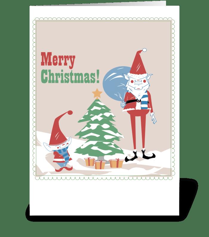 Gnome Christmas greeting card