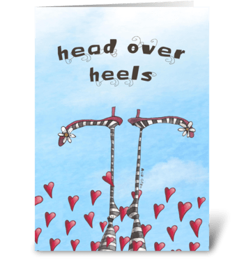 Head over heels greeting card