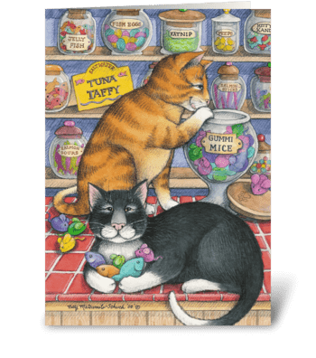 Candy Shop Birthday Cats #25 greeting card
