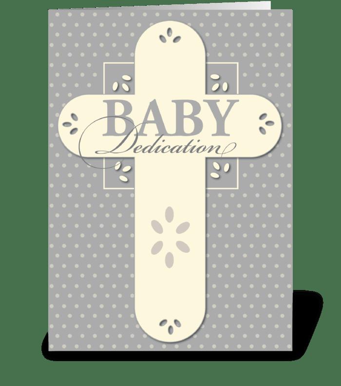 Baby Dedication Cream & Gray Cross greeting card