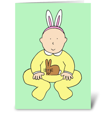 Happy Easter, baby in bunny ears. greeting card