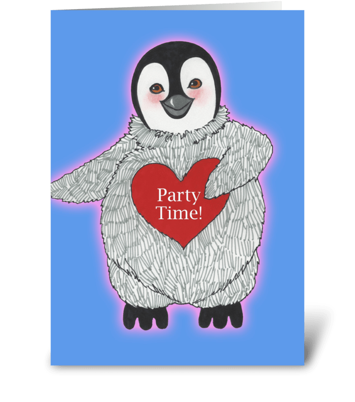 Birthday Party Time Penguin greeting card