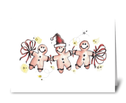 Festive Gingerbread Men greeting card
