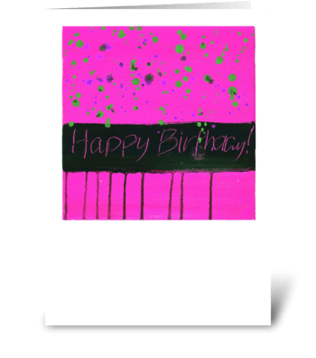 Happy Birthday - Black on Pink greeting card