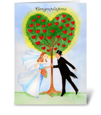 Wedding Congratulations Tree with Hearts greeting card