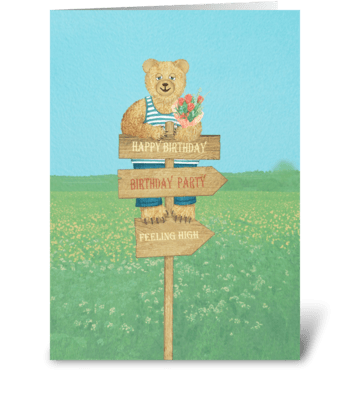 Bear with flower greeting card