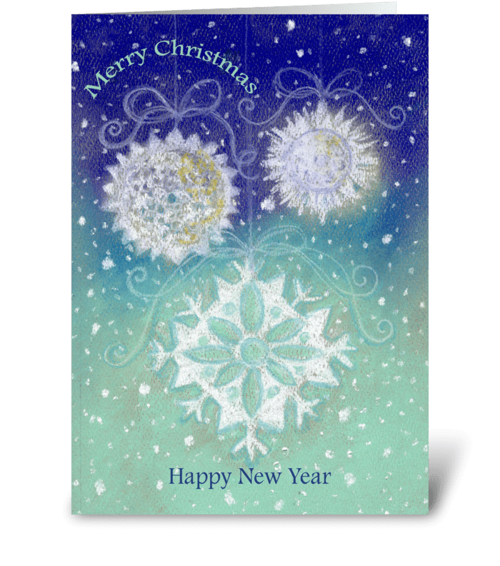 Snowflakes Christmas & New Year greeting card