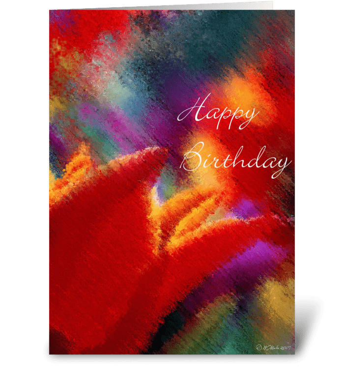 Abstract Orange Tulip Birthday Card greeting card