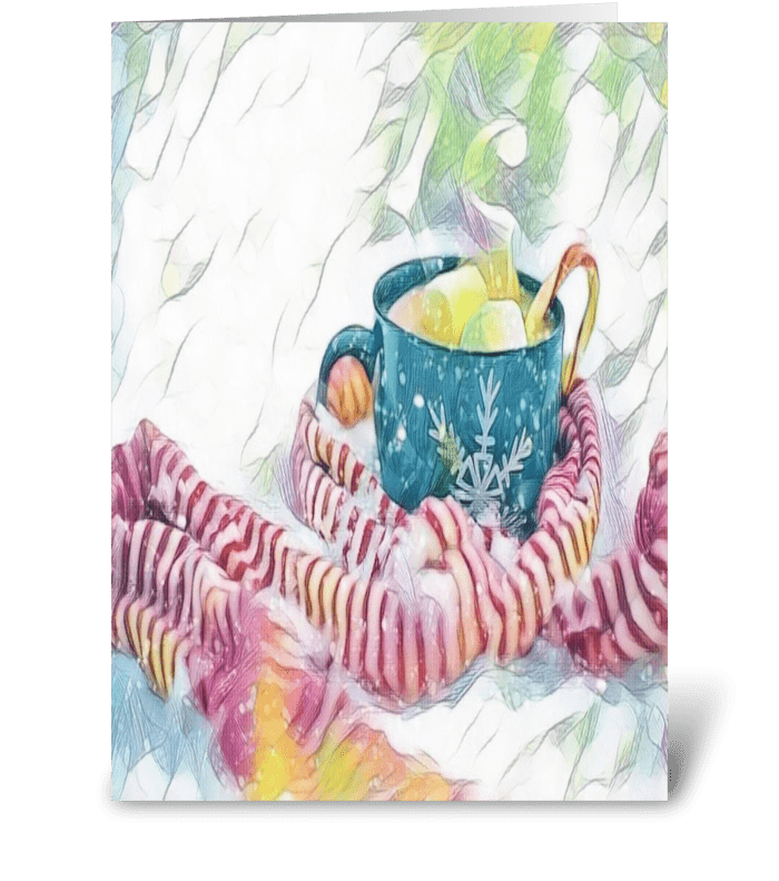 winter time hot cocoa greeting card