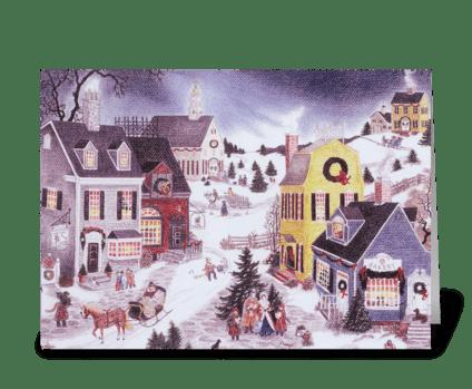 Caroling on Christmas greeting card
