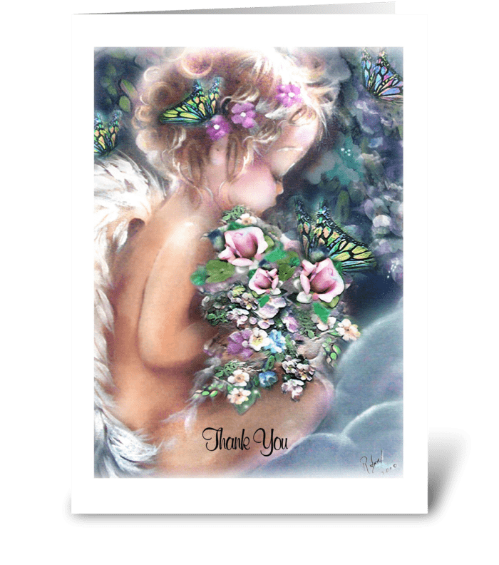 Angel, Thank You Card greeting card