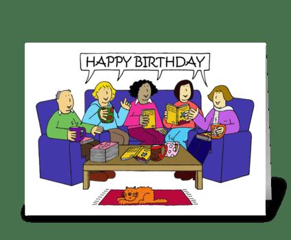 Happy Birthday fellow book addict. greeting card