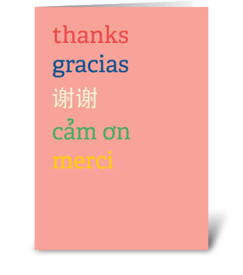 Multi-lingual Thank You Card greeting card