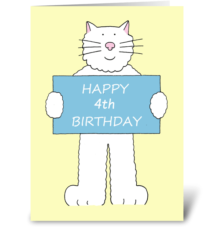 Happy 4th Birthday Cute Cat Send This Greeting Card Designed By