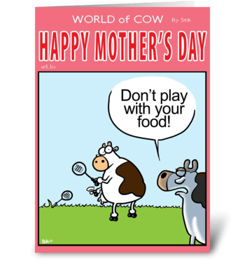 Mother's Day Don't play with your food! greeting card