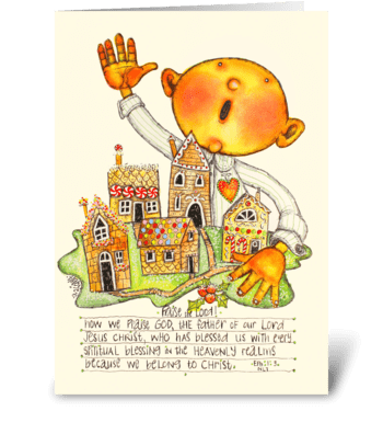 Ginger village greeting card