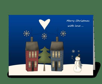 Snowman, Folk Art Homes Christmas greeting card