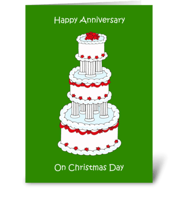 Christmas Day wedding anniversary. greeting card
